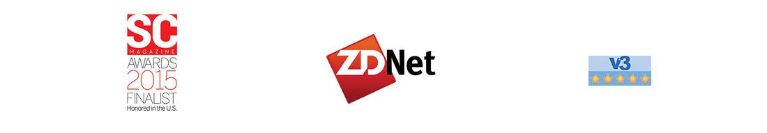 SCMAGAZINE AWARDS2015 FINALIST、ZDNet、V3